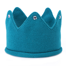 Cute Children Knitting Tiara Headband New Birthday Hair Hoop 5 Colors Winter Head Warm Accessories Imitation diamond decorated