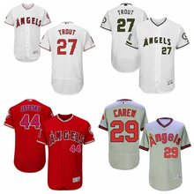 Hot Men's Los Angeles Angels of Anaheim Rod Carew Mike Trout Reggie Jackson Player Jersey(China)
