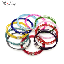 "10pcs/lot 46cm multicolor mixed silver Stainless Steel 18"" screw choker Necklace Wire Cord For DIY necklaces"