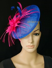 Cobalt Royal blue/fuchsia hot pink Sinamay fascinator hat for kentucky derby wedding party church(China)