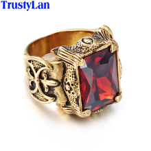 TrustyLan Vintage Gold Color Men Jewelry Stainless Steel With Big Red Green Purple CZ Stone Ring Men Punk Rock Mens Rings Anel