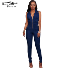 Bonnie Forest Logan Medium Denim Wash Gold Zipper Accents Denim Romper jumpsuit 2017 Summer Fashion Jean Catsuit Denim Overalls
