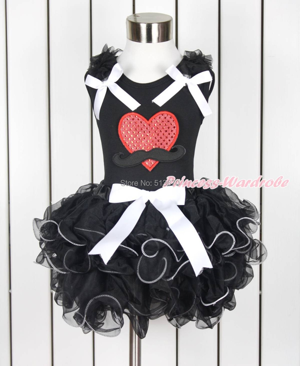 Valentine Sparkle Mustache Red Heart Girl Black Top Black Petal Skirt Set NB-8Y MAPSA0127<br><br>Aliexpress