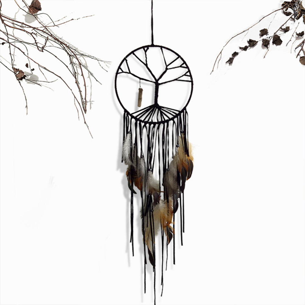 Handmade Yin Yang Dream Catcher Feather Home Wall Hanging Decoration Ornament