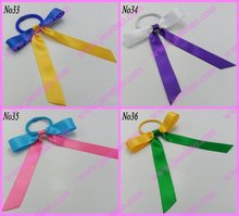 free shipping 500pcs  Pony O Hair Bow Ponytail Streamers mix color ponytail holder bows