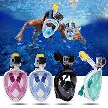 New Swimming Diving Breath Full Face Mask Surface Snorkel Scuba GoPro Anti Fog Diving Mask for Adult Children Diving Equipment
