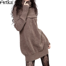 Artka Women'S Autumn Winter Vintage Turtleneck Full Sleeve Cocoon Shape Solid Plain Rib Knitting Sweater Dress LB15635D