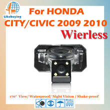 Wireless 1/4 Color CCD Rear View Camera / Wireless Parking Camera For Honda CITY / CIVIC 2009 2010 Night Vision / 170 Degree