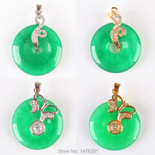 Chic 24X24MM Imitation Green Jades Coin Bead Crystal inlaid Pendant 1PCS