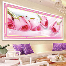 Hot 5D Diamond Painting Flowers Pink Rose Diamond Mosaic Diy Embroidery Chinese Cross Stitch Home Decor Canvas Gift 105*45cm(China)