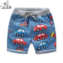 I.K Children blue Jeans With Cartoon Car Printing Boys Cute Trousers 2017 Summer Cotton Harem Pants Kids Clothing Brand A1108(China)