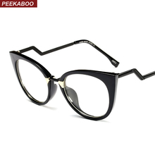 Peekaboo vintage cat eye glasses frames for women black white red blue ladies fashion eyeglasses women frames 2018 half metal(China)