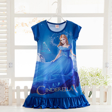 2017 Fashion Cinderella Pattern Girls Nightgowns Children Party Dresses Sleepwear Pajamas Baby Girls Nightie Dress Pyjamas