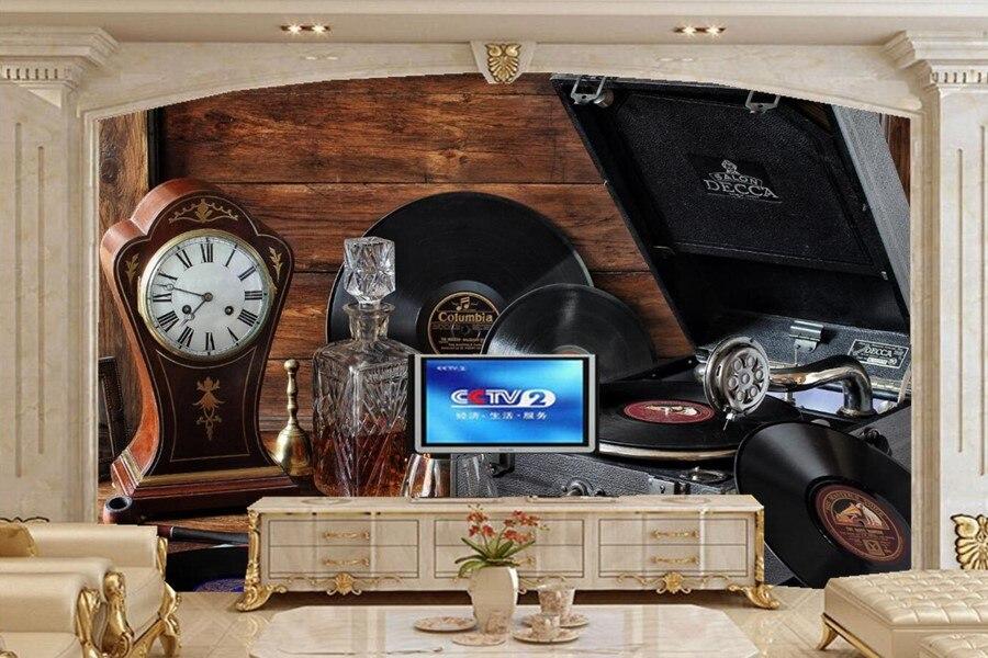 Still-life Gramophone record Stemware wallpapers,bar living room sofa TV wall bedroom wallpaper for walls 3d papel de parede<br>