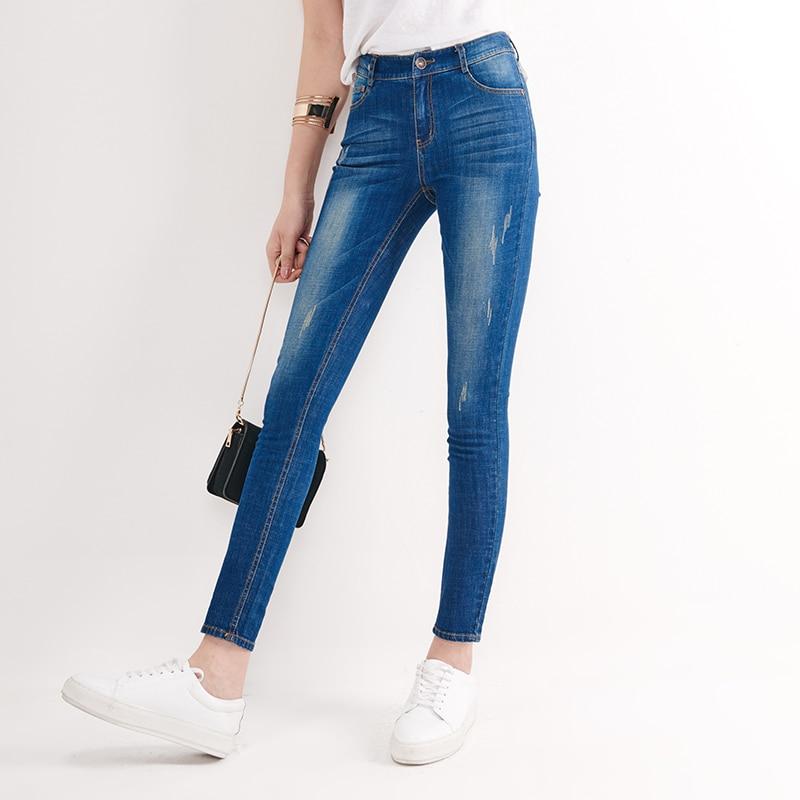 YERAD Women Jeans Mid Waist Ankle Length Plus Size Denim Pants Femme Washed Casual Slim Pencil PantsÎäåæäà è àêñåññóàðû<br><br>