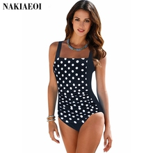 Plus Size Swimwear Female Polka Dot One Piece Swimsuit Women Vintage Bathing Suit One-Piece Suit 2017 Retro Large Size Swimsuits