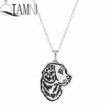 QIAMNI Jewelry Handmade Cute Golden Retriever Face Puppy Pet Lovers Animal Unique Necklaces & Pendants Gift for Women and Girls