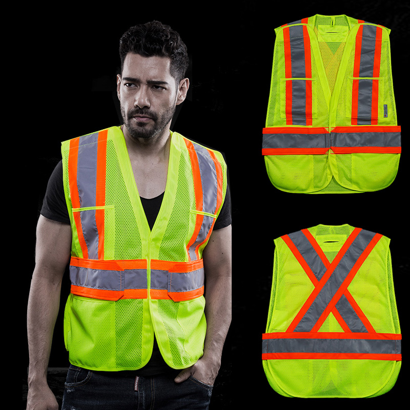 Workplace Safety Supplies Hi Vis Two Tone Safety Vest With X On The Back Reflective Waistcoat Breathable Mesh Vest Orders Are Welcome. Security & Protection