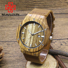 Nature Wood Handmade Men Watch Made From Zebra Calender Dial With Luxury Leather Strap Wooden Watches male Gift For Him SIHAIXIN