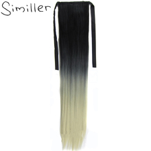 "Similler 22""/55cm 90g Women Synthetic Long Straight Clip In On Hair Extensions Wrap Around Ribbon Ponytail Black t 613 Ombre"