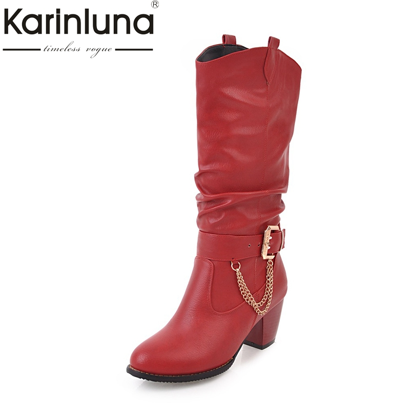 KARINLUNA 2017 Large Size 33-47 customize Platform Women Shoes Fashion square Heels Woman Boot Black western Boots Chains Winter<br>
