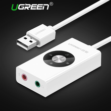 Ugreen External USB Sound Card USB to Jack 3.5mm Headphone Adapter Audio Mic Sound Card Free Drive for PC Computer Laptop(China)