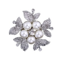 Women Jewelry Flower Bridal Crystal Rhinestone Faux Pearl Brooch Pin Silver Brooches New