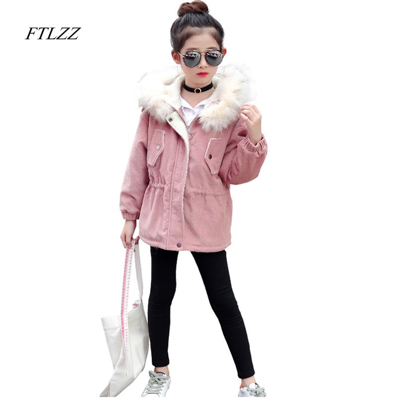 Baby Girls Jackets Coats Winter With Velvet Fur Hair Collar Hooded Flower Embroidery Children Outerwear Warm Cotton Parkas<br>