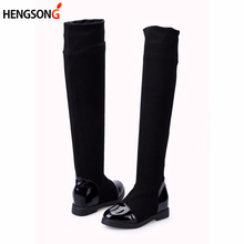 2017 Classic Flat Boots Women Winter Boots Black Knee High Boots Hidden Heel Stretch Fabric Boots Women Botas PA980498(China)