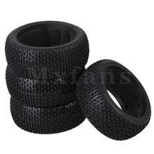 Mxfans 4x T Type Pattern Sponge Insert Rubber Tyre for RC 1:8 Off Road Black Color