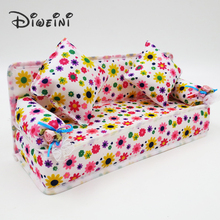 Mini Dollhouse Furniture Flower Cloth Sofa Dolls Accessories Couch With 2 Full Cushions For Barbie Doll House Toy girl wholesale(China)