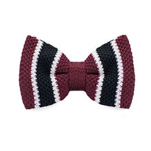 LF-328 New Arrival Knitted Crochet Men`s Bow Ties Adjustable Dark Red Striped Pattern For Men Party Bussiness Free Shopping(China)