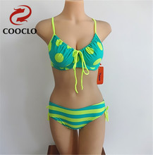 COOCLO Women's plus size bikini set, explosion models neoprene dot swimwear, Free Shipping  vintage soft cup sexy swimsuit