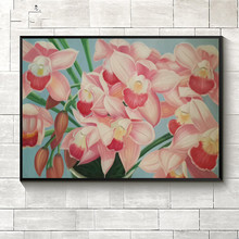 Original hand-painted oil painting on canvas modern decorative picture pink Narcissus flower decor art painting for living room
