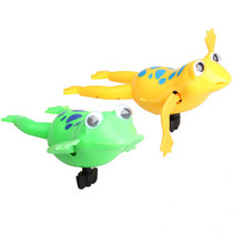 Clockwork Frog Bath Toys for Bathroom Battery Operated Plastic Kids Swimming Toy Cute Children Random Color(China)