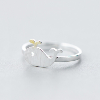 1Pcs 925 Sterling Silver Whale Rings For Women Cute Animal Whales Open Knuckle Ring Hypoallergenic 925-sterling-silver Bijoux