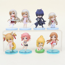 Cute Sword Art Online figure set SAO Kirito Asuna Niitengo ver Asuna Swim Suit PVC Action Figure Toys 6cm 4pcs/set(China)