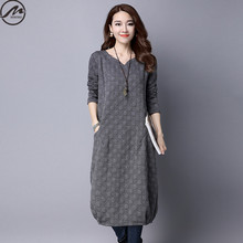 MIWIMD Plus Size Women Autumn Winter Dresses 2017 New Fashion Casual Loose Long Sleeve Vintage Jacquard Dots Cotton Linen Dress(China)