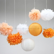 (Orange,Peach,Cream,White) 8pc Paper Decoration Set Paper Crafts(Paper Lantern,Pom Pom) Wedding Birthday Party Nursery Decor