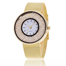 MINHIN Brand Design Stainless Steel Watch Gold & Rose Gold & Silver Colors Wrist Wtach Women Rhinestone Mesh Band Quartz Watch(China)
