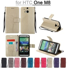 Stand Leather Wallet Case For HTC M8 Flip Tree Pattern Protect Cover For HTC M8 Cases with Wrist Strip