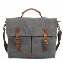 New Men's Vintage Canvas Genuine Leather Cowhide Cotton Tote Messenger Bag Cross-body Handbag Book School Bag 15""