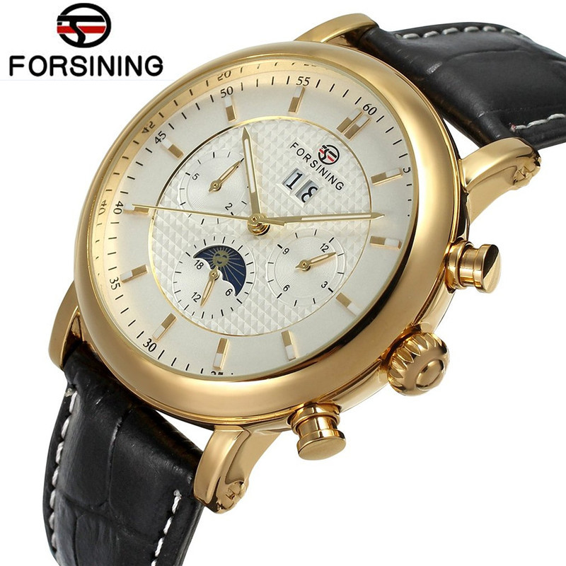 New Fashion Fosining Gold Mens Auto Mechanical Moonpahse Genuine Leather Strap Watches Wristwatch  Free Ship<br>