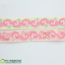 5/8''16mm fold over elastic foil & gold screen printed elastic band sewing 20 yards(China)