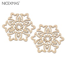 10pcs 8*8cm Christmas Hanging Ornaments Decoration Wooden Hollow Snowflake Design Embellishments New Year Decoration(China)