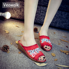 Veowalk Open Peep Toe Gauze Design Women Slides Slippers Summer Fashion Ladies Casual Leisure Platform Sandals Shoes Zapatillas(China)