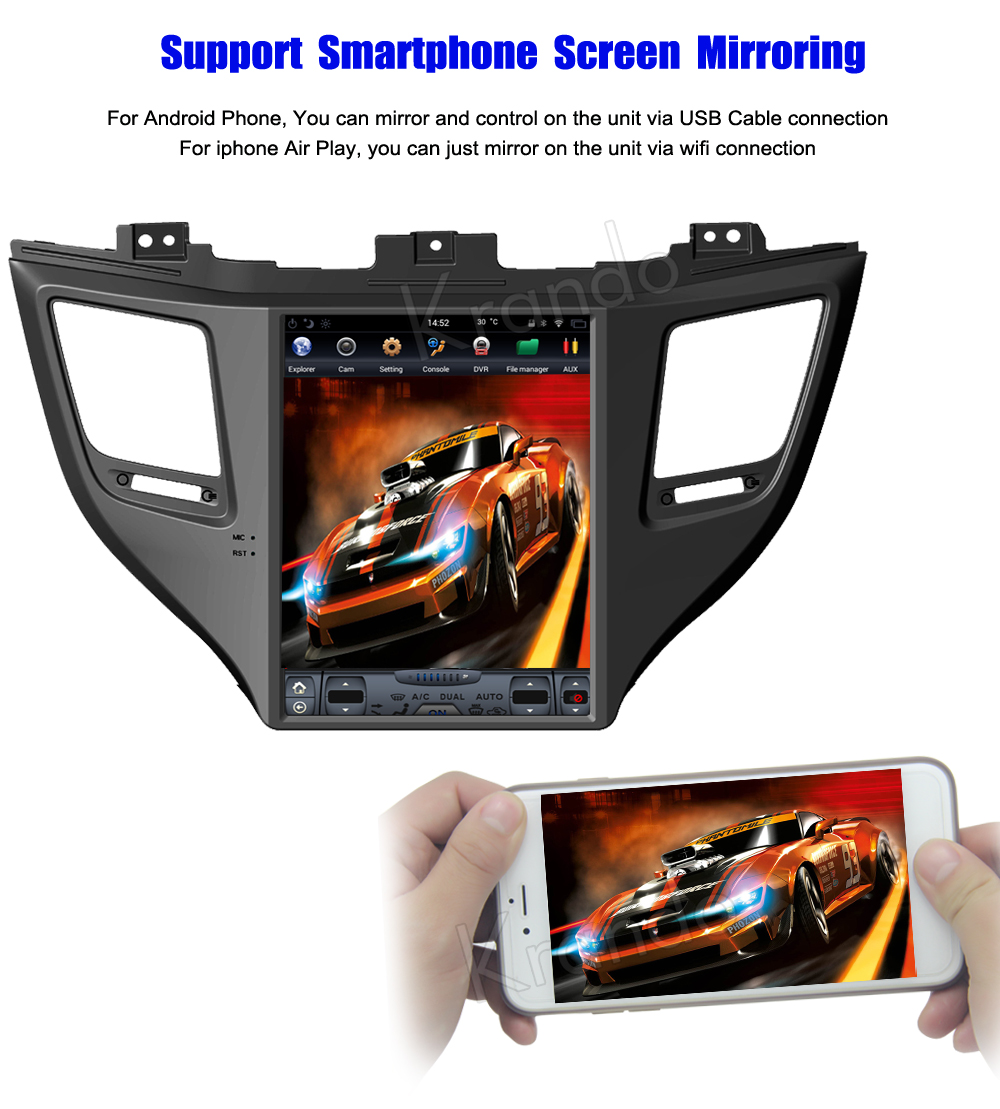 Krando 10.4 '' Vertical screen android car radio multimedia for Hyundai IX35 tucson 2015+ big screen navigation with gps system (6)