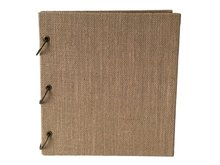 Linkedwin Scrapbook with Jute Cover, 3-Ring Connected Loose-Leaf Guest Book (10.2 x 10.6 inch)(China)