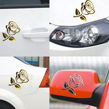 1PCS 10.5*8.5cm 3D Silver/Golden Stereo Cutout Rose Car Vehicle PVC Logo Reflective Car Sticker Decal Flowers Art Hot Sale(China)