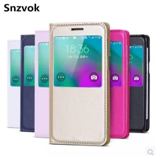Snzvok Window Flip PU Leather Case for Samsung Galaxy J1 J3 J5 J7 A3 A5 A7 2016 A310 J120F J310F J510F J710F phone bag Cover